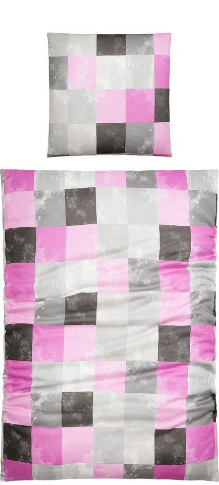 Bettwäsche, Living Dreams, »Tanni«, mit kleinen, feinen Karos in pink-silber