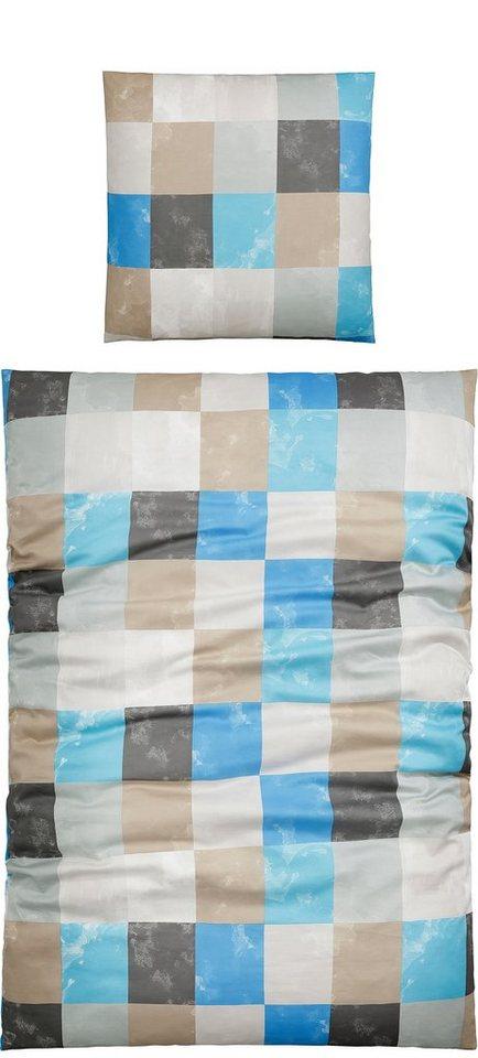Bettwäsche, Living Dreams, »Tanni«, mit kleinen, feinen Karos in aqua-taupe