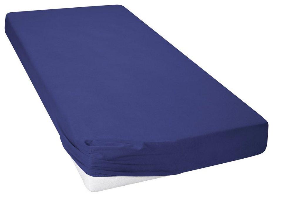 Spannbettlaken, my home, »Biber«, mit flauschiger Oberfläche in dunkelblau