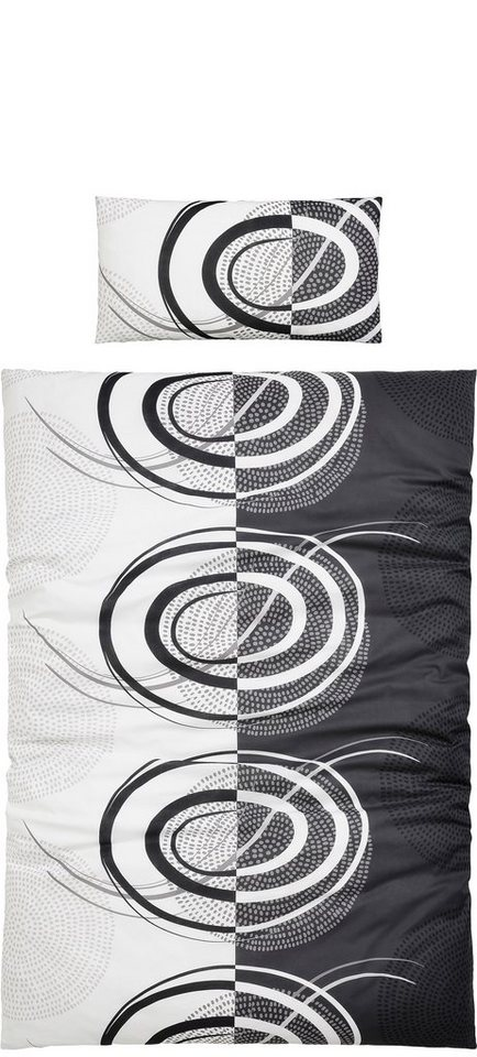 Bettwäsche, Ecorepublic Home, »Dramo«, mit besonderen Kreismotiven in anthrazit-weiß