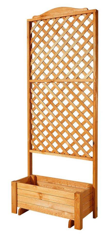 Holzspalier »Romantica mit Pflanzkasten, 80x210 cm« in braun