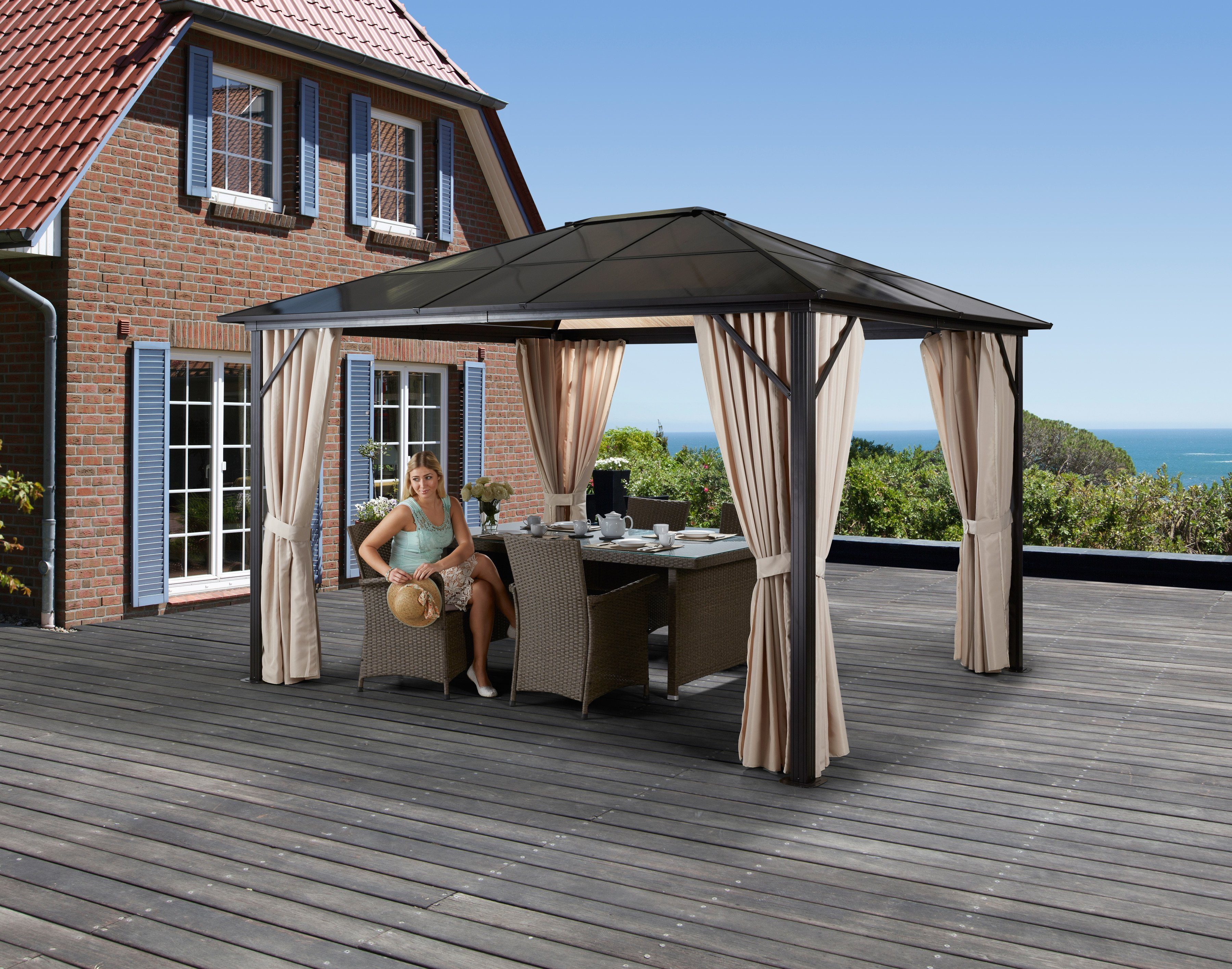 Holz Pavillon Mit Seitenteilen ~ Komplett Set Pavillon »Profi Pavillon«, mit Seitenteilen, BxT