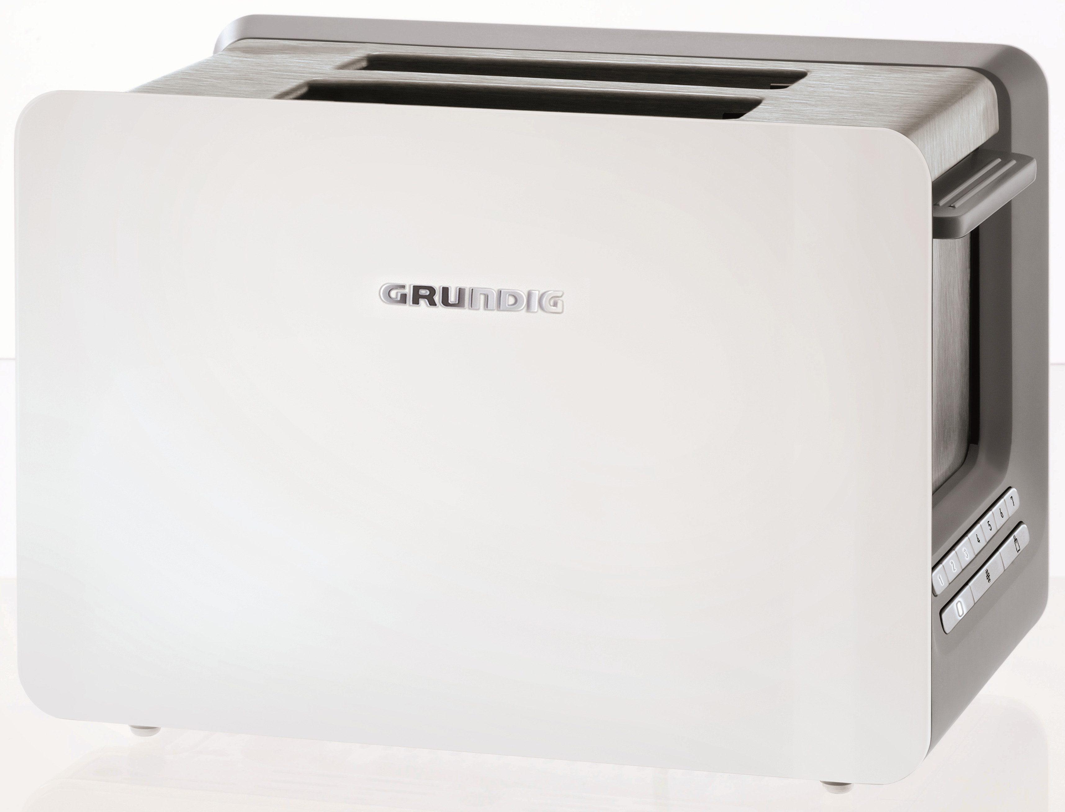 Grundig Toaster TA 7280 w »WHITE SENSE«, für 2 Scheiben, 870 Watt, Weiß-Edelstahl