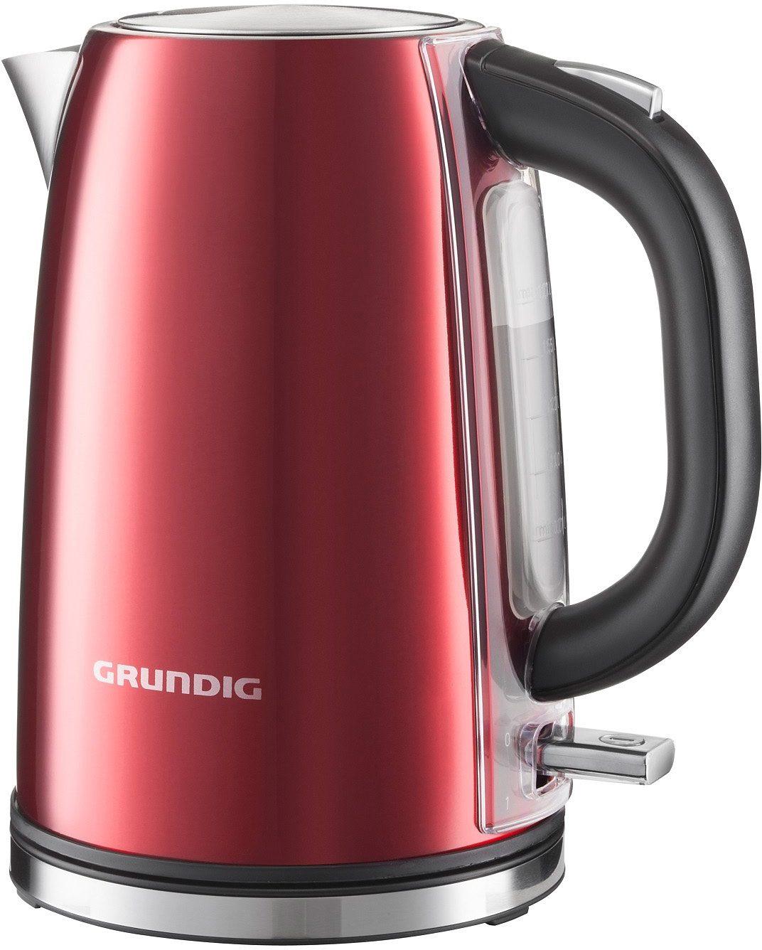Grundig Wasserkocher WK 6330 »RED SENSE«, 1,7 Liter, 3000 Watt, Metallic-Rot