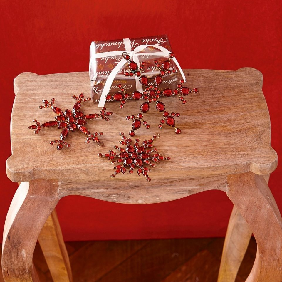 Loberon Weihnachtsschmuck 3er-Set »Selia« in rot