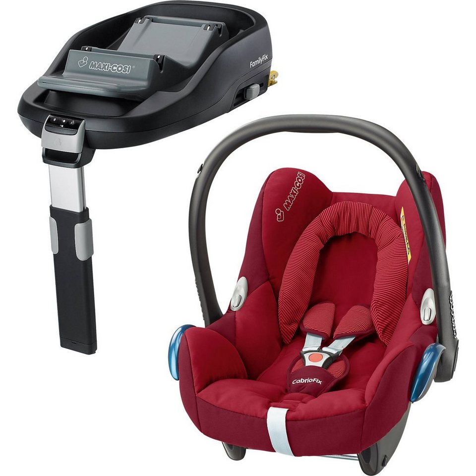 Maxi-Cosi Babyschale Cabriofix, robin red, inkl. FamilyFix in rot