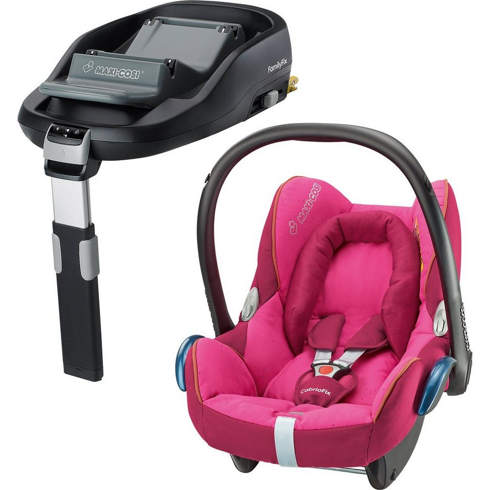 Maxi-Cosi Babyschale Cabriofix, berry pink, inkl. FamilyFix in pink