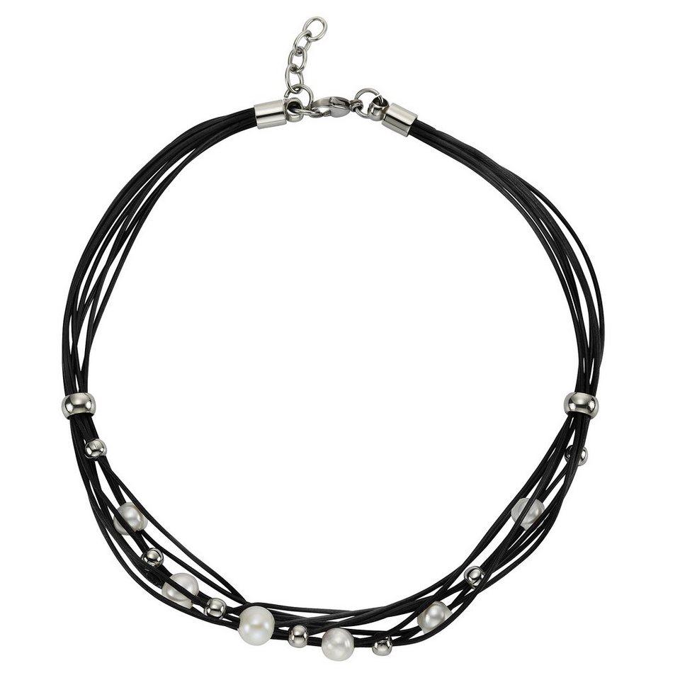 Zeeme Collier »Leder schwarz Stahlkugeln und Perle« in schwarz