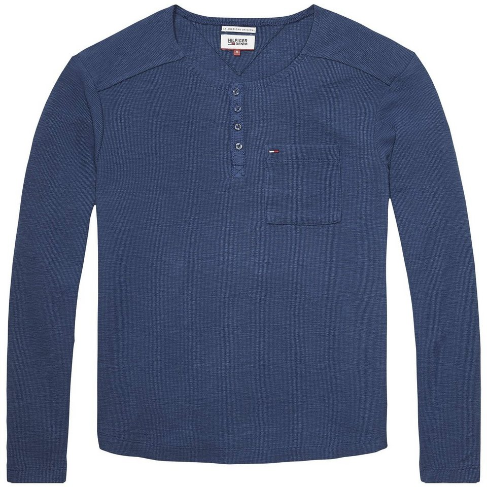 Hilfiger Denim T-Shirts (langarm) »Andrew henley l/s« in BLUE WING TEAL