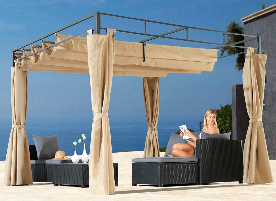 komplett set pavillon raffdachpergola inkl 4. Black Bedroom Furniture Sets. Home Design Ideas