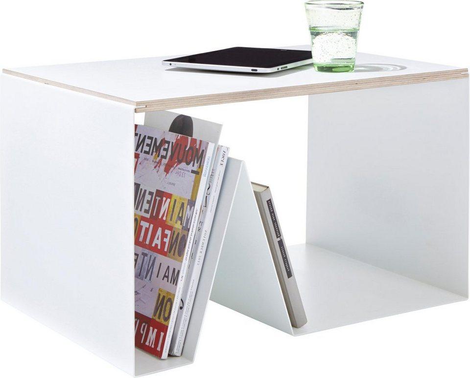 emform® Beistelltisch »PULSE« aus Birkenschichtholz mit Metall in weiß