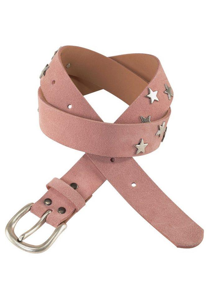 J. Jayz Ledergürtel mit Sternen in rosa