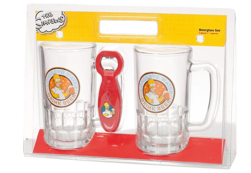 United Labels Bierglas-Set mit Öffner, »The Simpsons, Conserve Water, Drink Beer« (3tlg.)