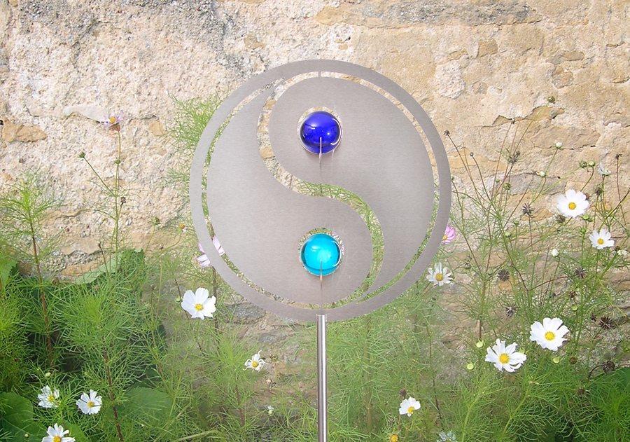 Combini Gartenstecker, »Yin Yang« in Stecker silberfarben, Kugeln blau und türkis