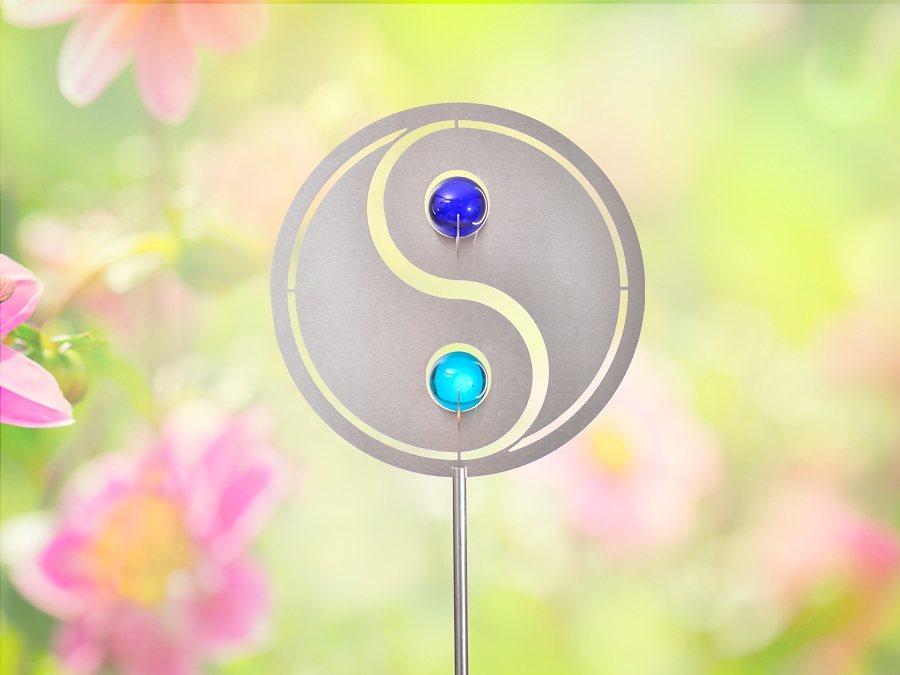 Combini Topfstecker, »Yin Yang« in silberfarben, blau