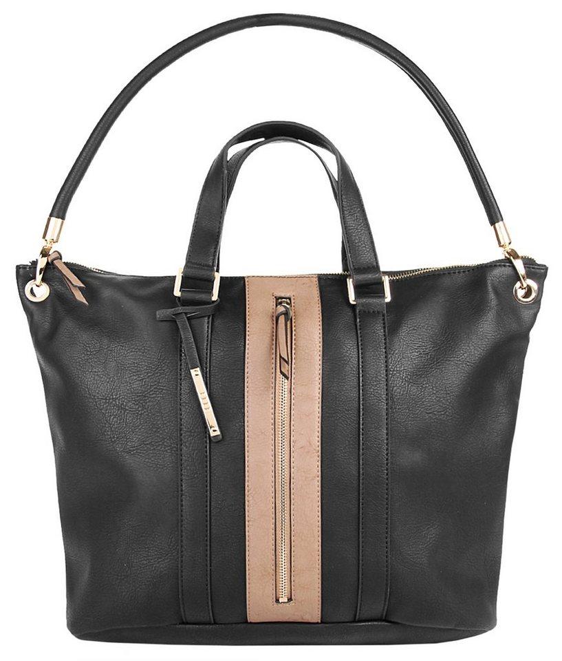 ELLE Damen Shopper »Straight Line« in schwarz