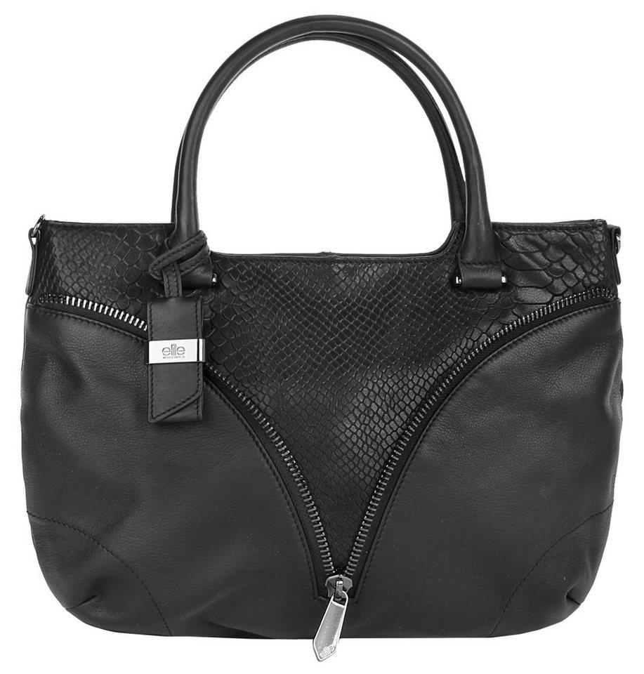 ELITE MODEN Leder Damen Handtasche »Lois« in schwarz
