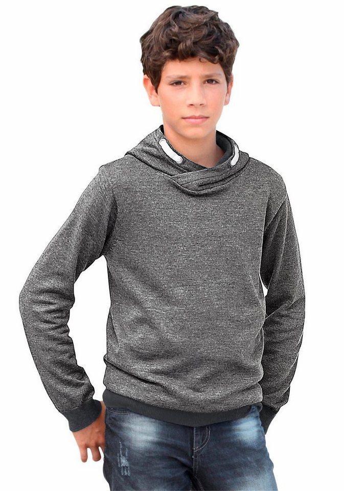 KIDSWORLD Kapuzensweatshirt in grob melierter Optik in grau-meliert