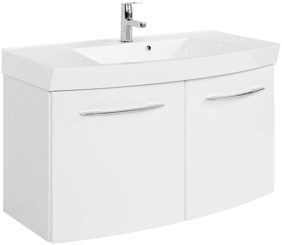 Waschtisch »Florida, gebogen«, Breite 100 cm, (2-tlg.) in weiß x weiß