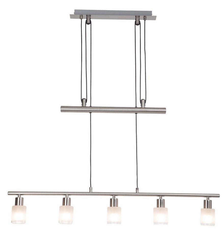 Brilliant Leuchten Pendelleuchte, inkl. LED-Leuchtmittel, 5 flammig in Metall, Chromfarben, Glas, weiß