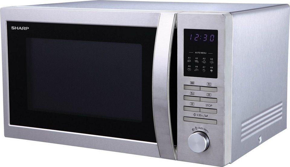 Sharp mikrowelle r322stwe mikrowelle 900 w mit drehknopf und tastendruckbedienung und gro em for Einbauofen mit mikrowelle