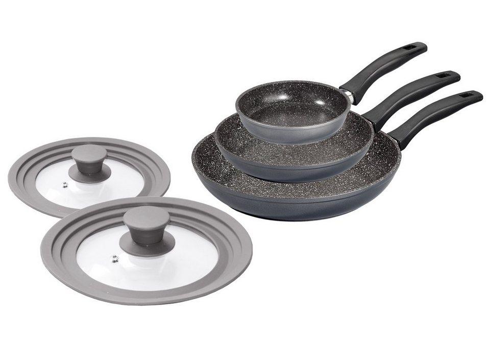 Stoneline Pfannen-Set, Aluminiumguss, Multideckel, Induktion in grau