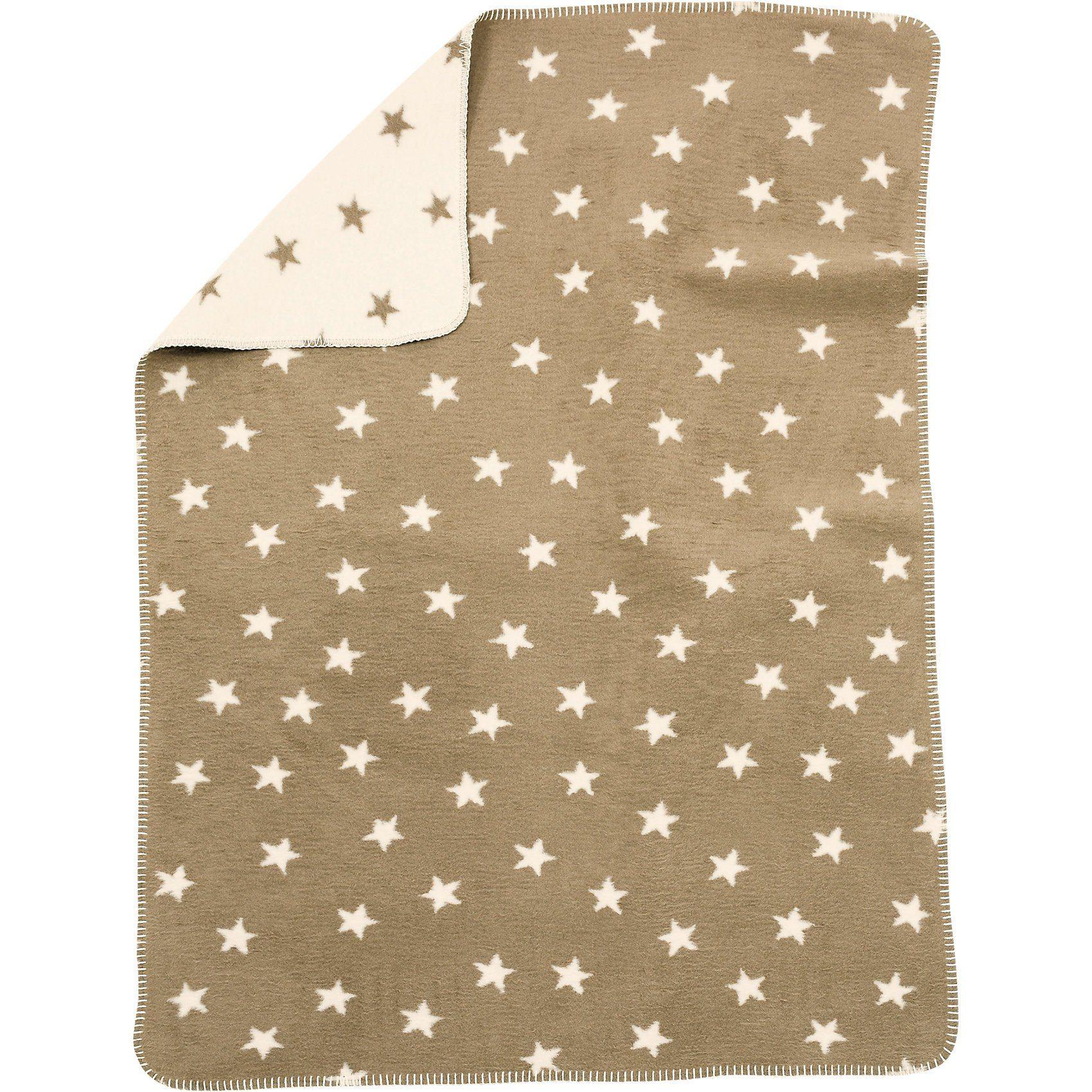 Babydecke mit UV-Schutz, Baumwolle, Sterne beige, 75 x 100 c