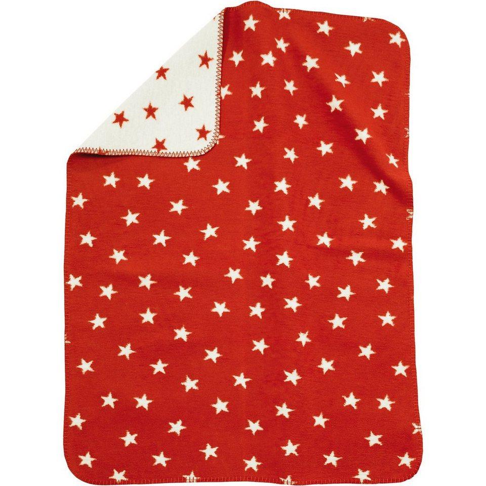 Alvi Babydecke mit UV-Schutz, Baumwolle, Sterne rot, 75 x 100 cm in rot