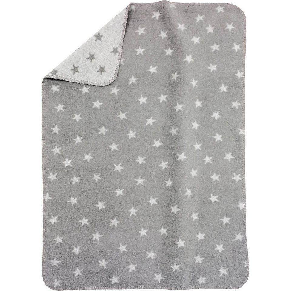 alvi babydecke mit uv schutz baumwolle sterne grau 75 x. Black Bedroom Furniture Sets. Home Design Ideas
