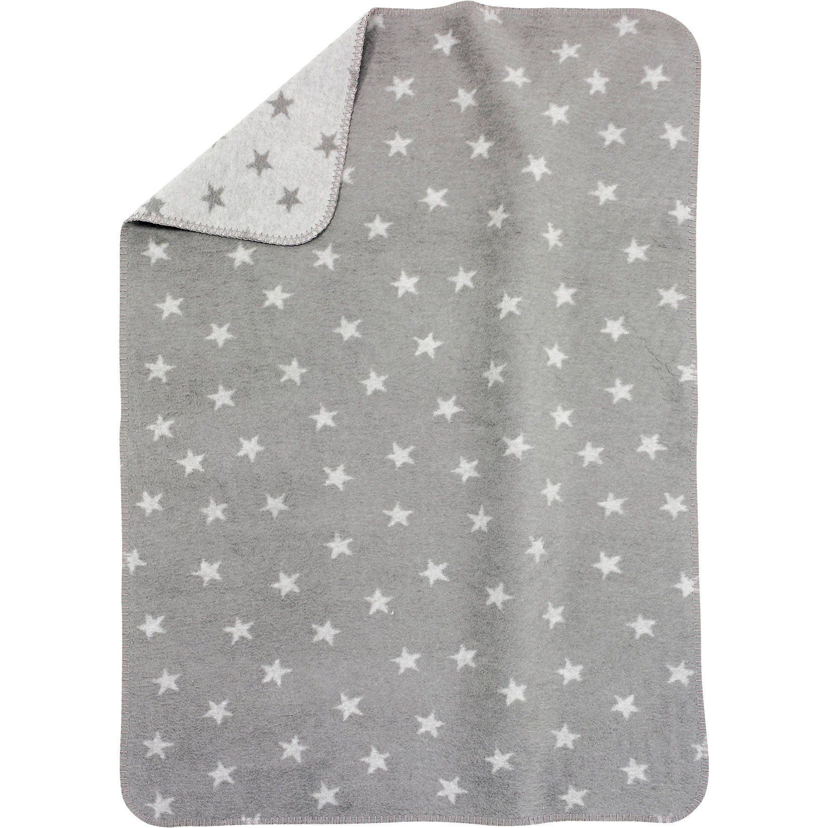 Alvi Babydecke mit UV-Schutz, Baumwolle, Sterne grau, 75 x 100 cm