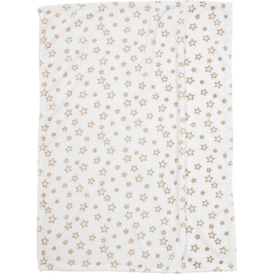 Alvi Babydecke mit UV-Schutz, Microfaser, Sterne beige, 75 x 100 in beige