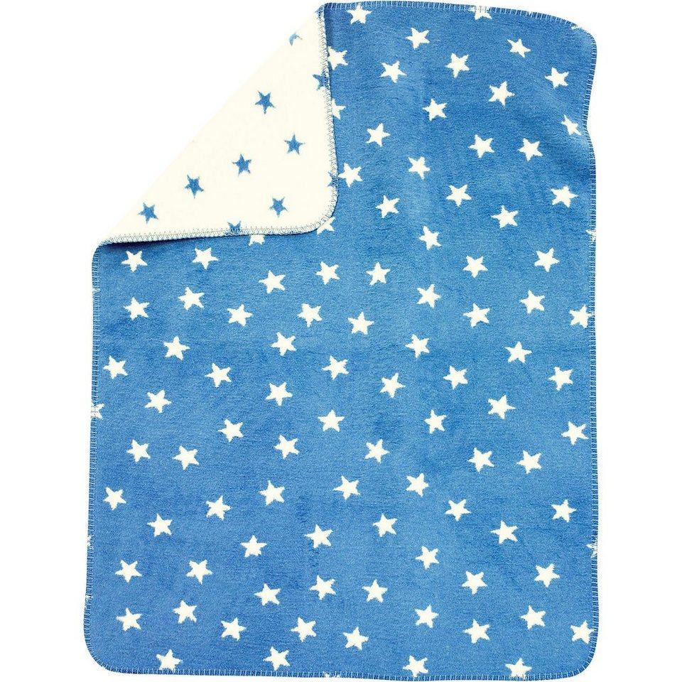 Alvi Babydecke mit UV-Schutz, Baumwolle, Sterne blau, 75 x 100 cm in blau