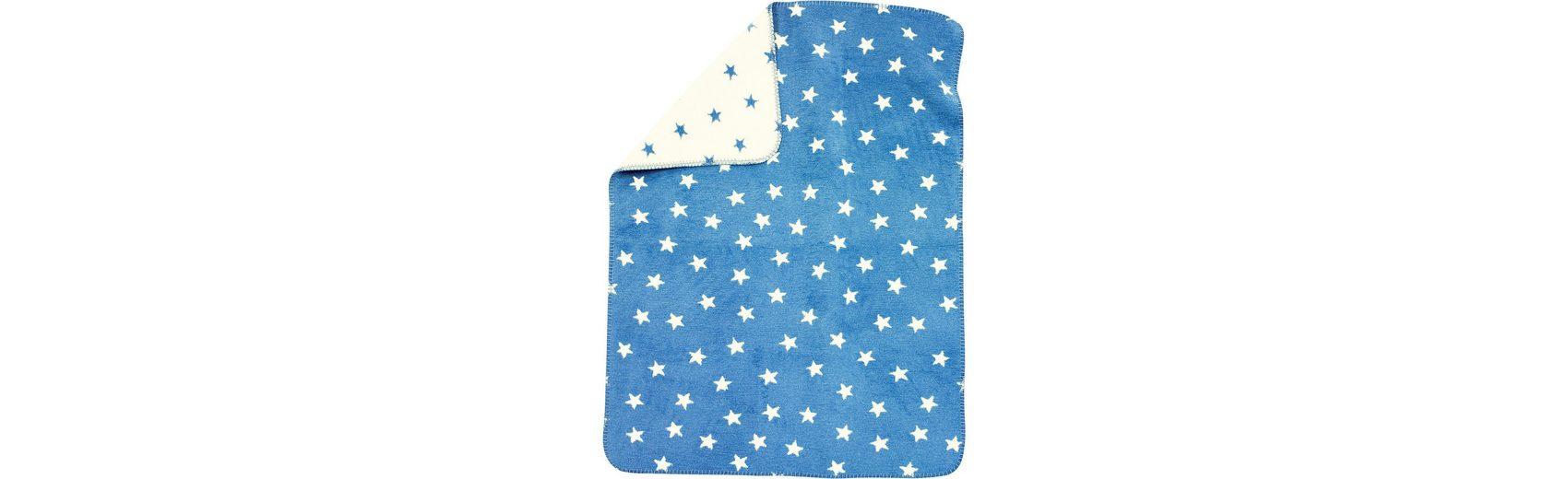 Alvi Babydecke mit UV-Schutz, Baumwolle, Sterne blau, 75 x 100 cm
