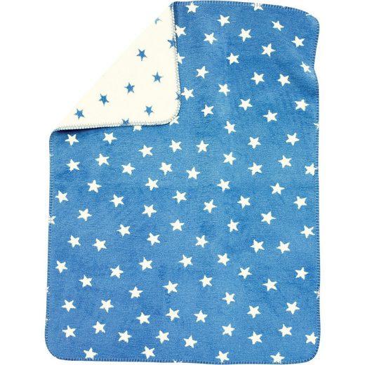 Alvi® Babydecke mit UV-Schutz, Baumwolle, Sterne blau, 75 x 100 cm