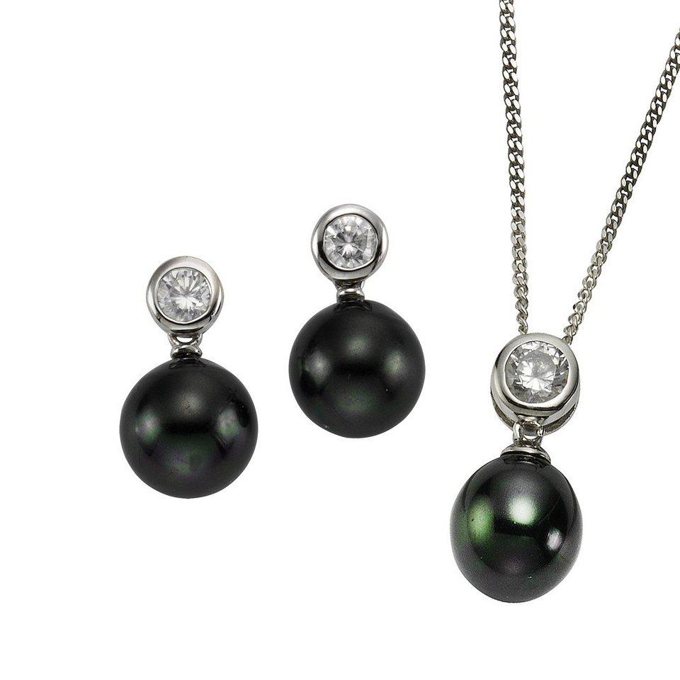 CELESTA 3tlg. Set »925/- Sterling Silber Perlen« in weiß