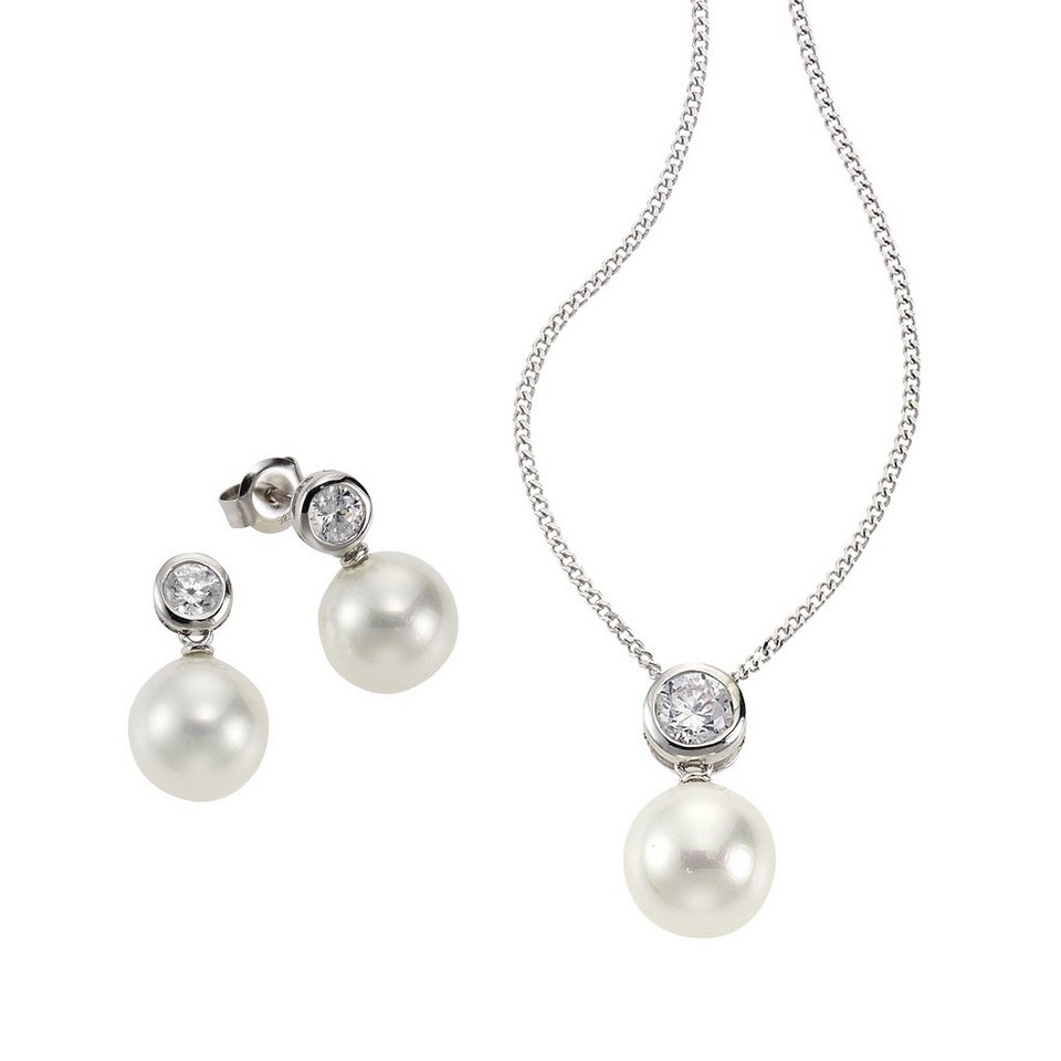 CELESTA 3tlg Set »925/- Sterling Silber Perlen« in weiß