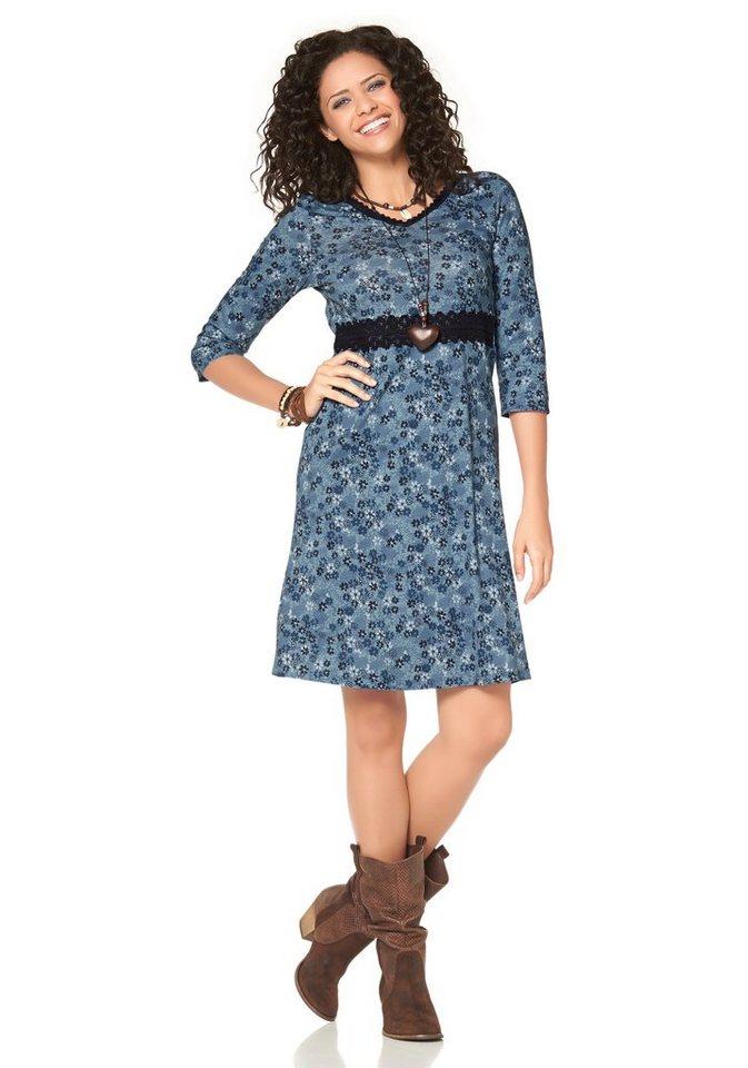 Boysen's Jerseykleid mit Spitze und Blumendruck in blau-bedruckt-geblümt-geblümt