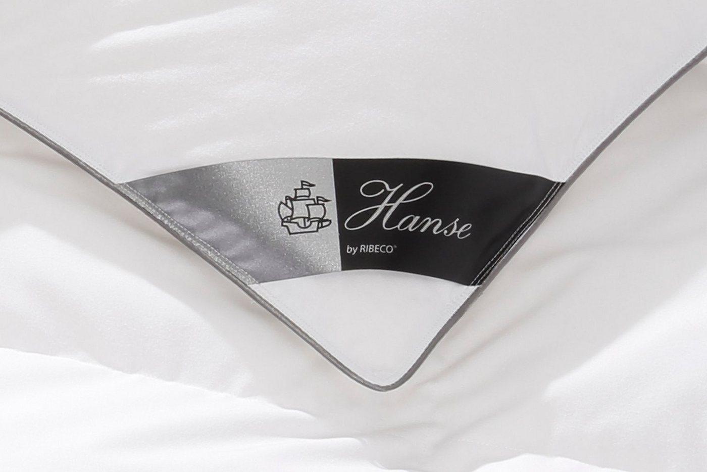 Daunenbettdecke Hanse by Ribeco Lea, Warm, 90% Daunen, 10% Federn (+ Gratis-Nackenrolle)