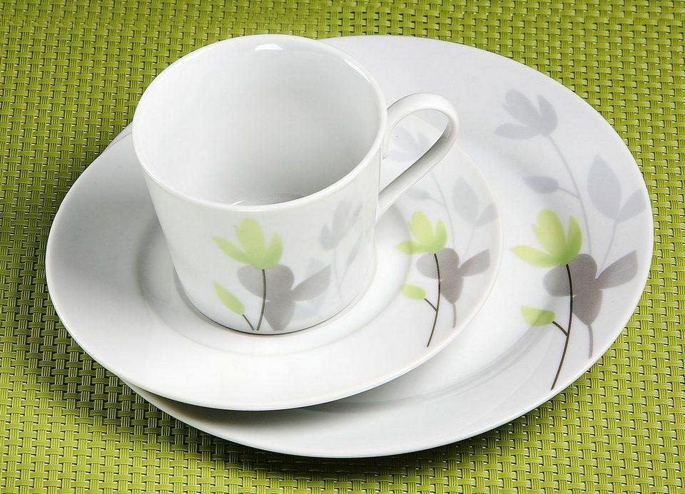 Flirt by R&B Kaffeeservice, Porzellan, 18 Teile, »LEILA« in weiß/hellgrün, grau