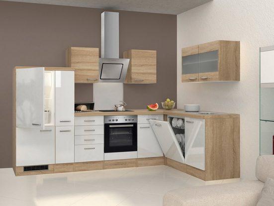 FLEX-WELL Küchenzeile mit E-Geräten »Florenz«, Breite 310 x 170 cm
