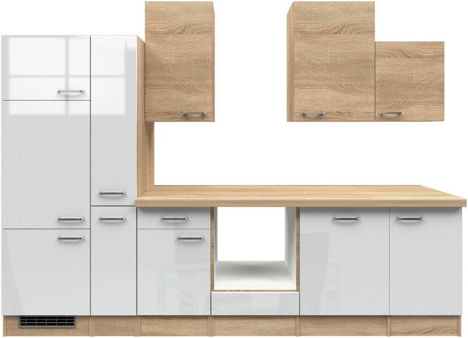 Küchenzeile ohne E-Geräte »Florenz«, Breite 310 cm in weiss glanz/eichefarben sonoma