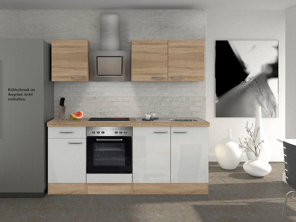 Küchenzeile mit E-Geräten »Florenz«, Breite 210 cm in weiss glanz/eichefarben sonoma