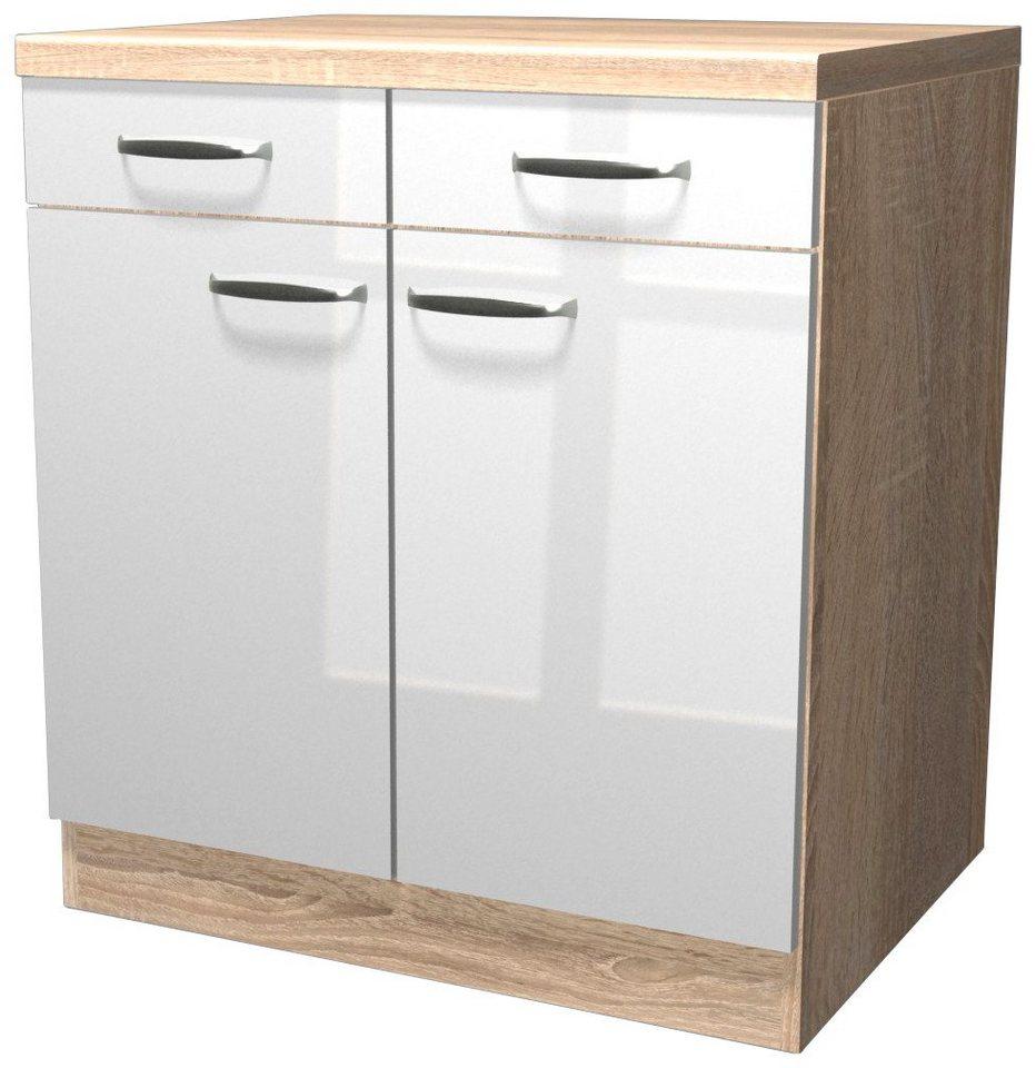 Küchenunterschrank »Florenz«, Breite 80 cm in weiß glanz