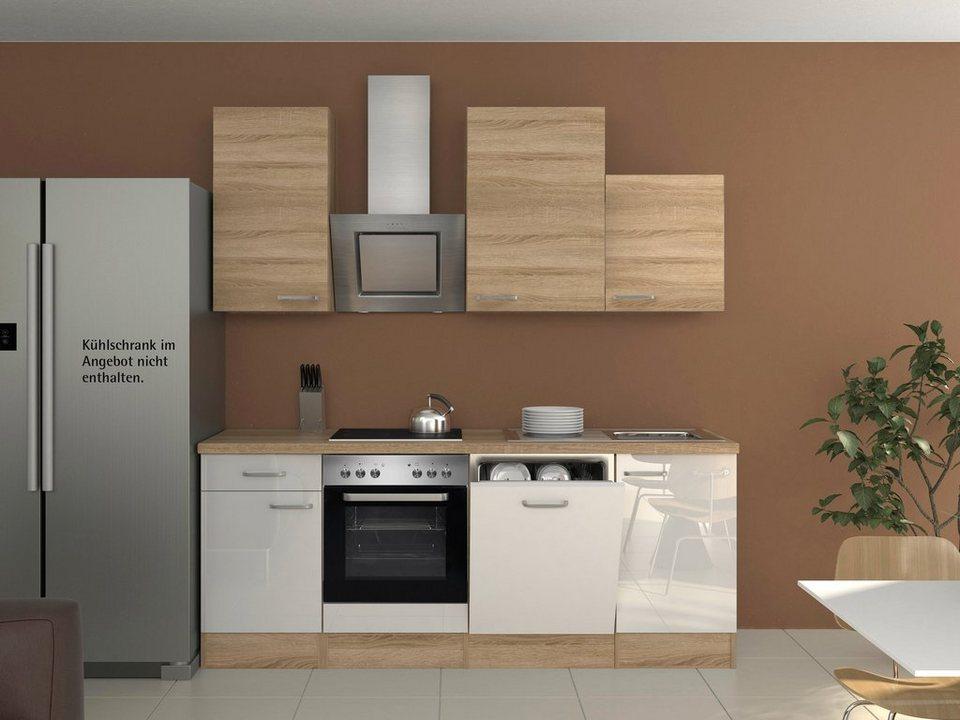 Küchenzeile mit E-Geräten »Florenz«, Breite 220 cm in weiss glanz/eichefarben sonoma