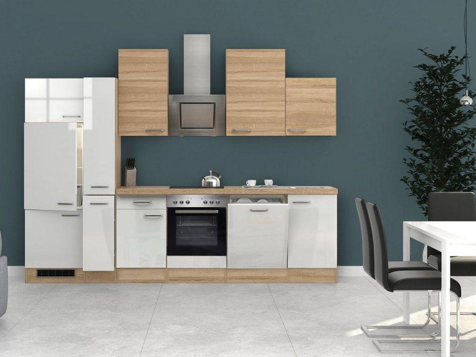Küchenzeile mit E-Geräten »Florenz«, Breite 310 cm in weiss glanz/eichefarben sonoma