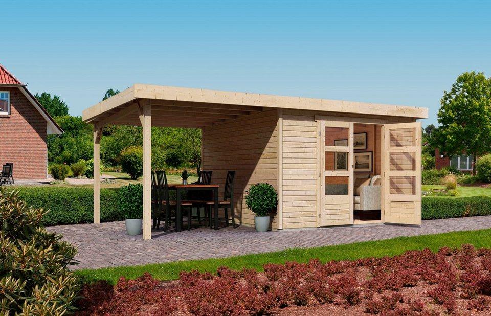 KARIBU Gartenhaus »Arnis 4«, BxT: 302 x 242 cm, mit Schleppdach (ca. 220 cm breit) in natur