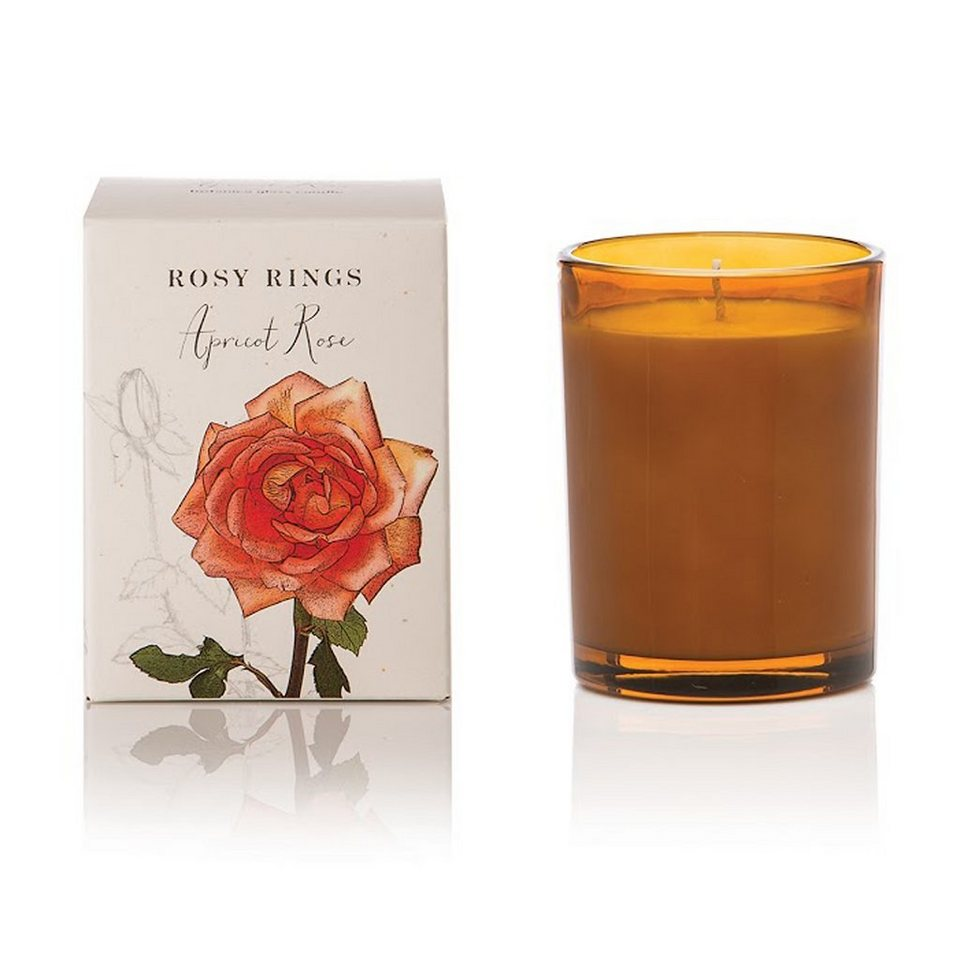 Rosy Rings Rosy Rings Duftkerze im Glas - Aprikose + Rose in Senffarben
