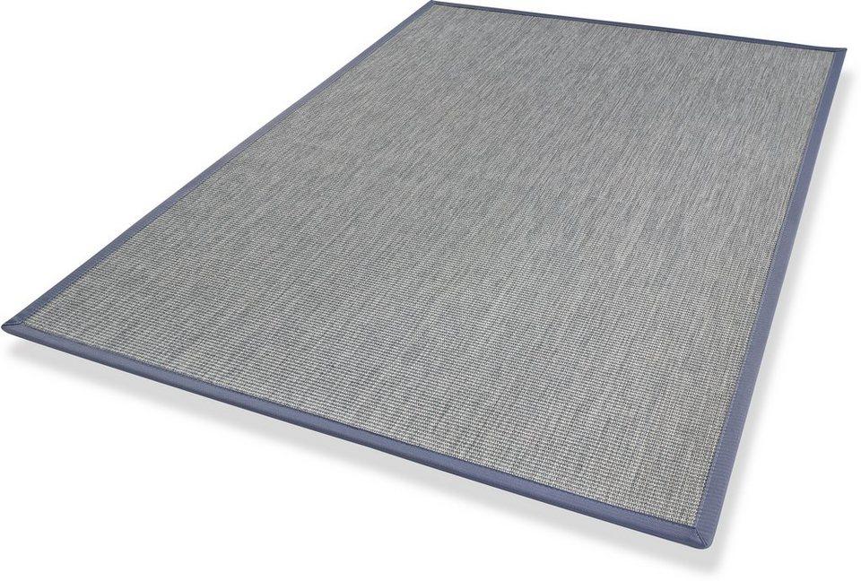 Teppich, Dekowe, »Malindi«, Flachgewebe mit Sisaloptik in blau