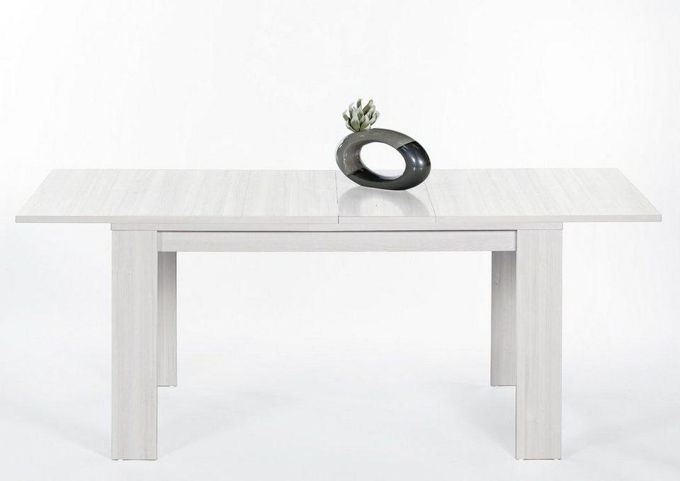 Esstisch mit Auszug in verschiedenen Größen in weiß gewischt