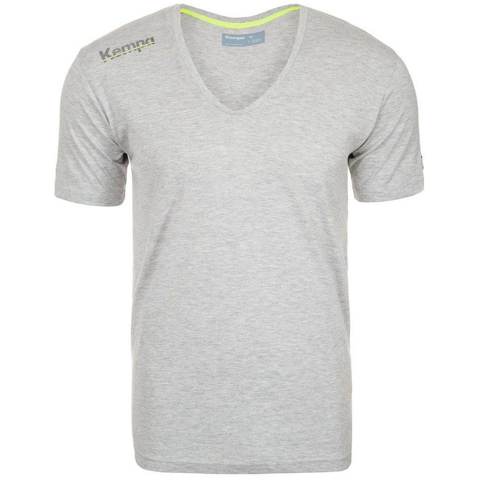 KEMPA Core Baumwoll V-Kragen T-Shirt Herren in grau mélange